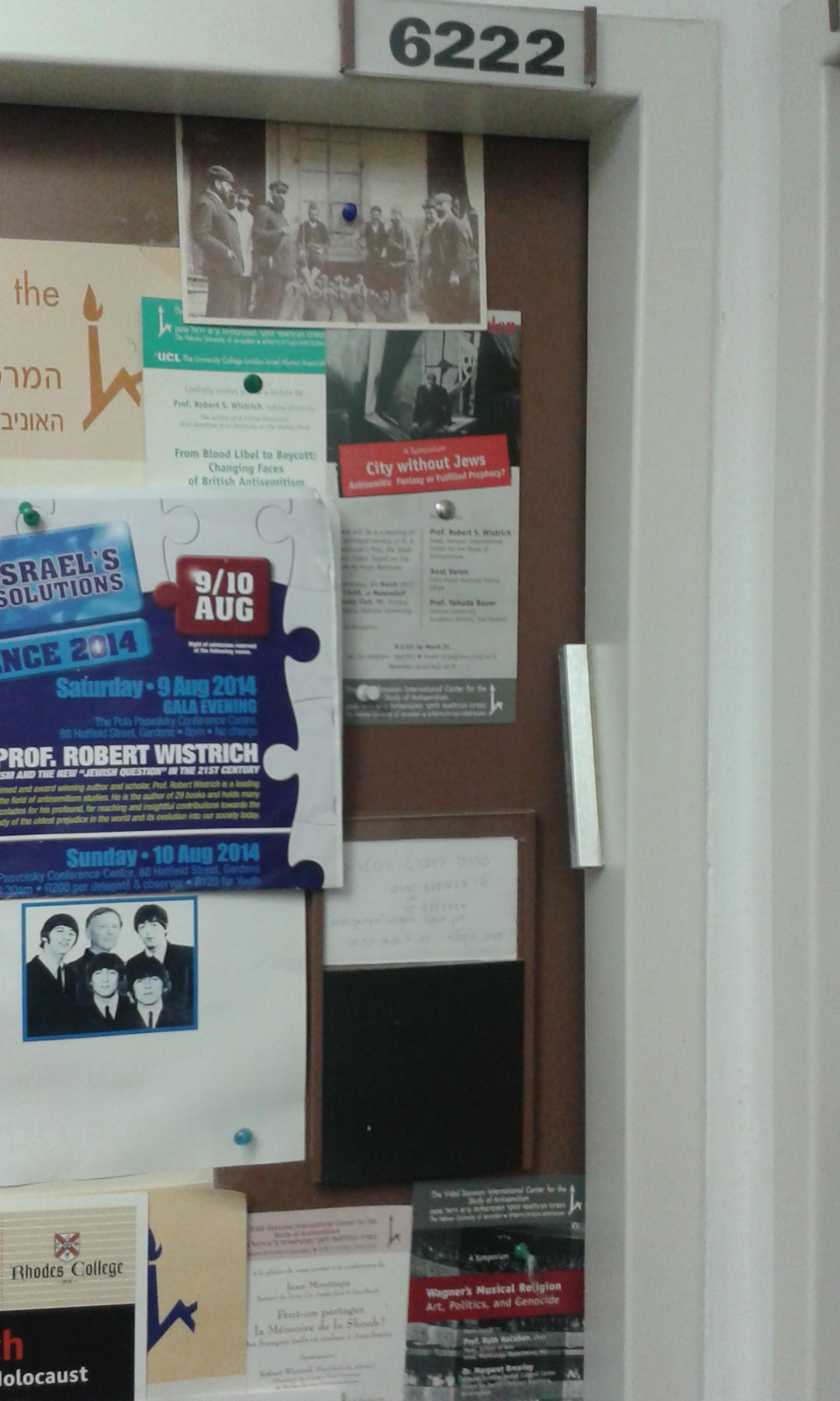 Door of Prof. Dr. Robert S. Wistrich's working room at Hebrew University